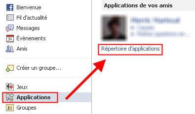 copie d'écran de la fonction applications sur un compte facebook.