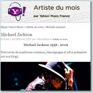 capture d'écran du site yahoo music.