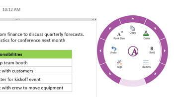dans la nouvelle version de onenote, un menu 'radial' permet de rapidement