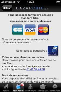 l'application iphone de bazarchic