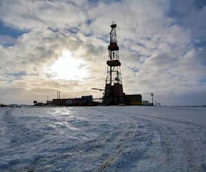 le site d'exploitation de timano-pechora, dans le nord de la russie.