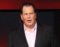 marc benioff, p-dg de salesforc, lors d'une présentation sur l'événement