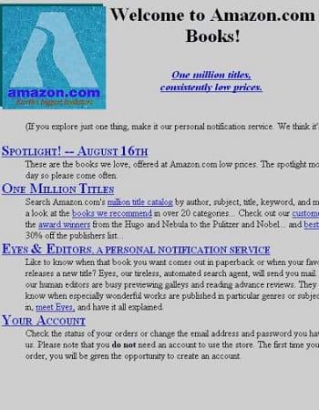 première page d'accueil d'amazon, avec son logo d'origine