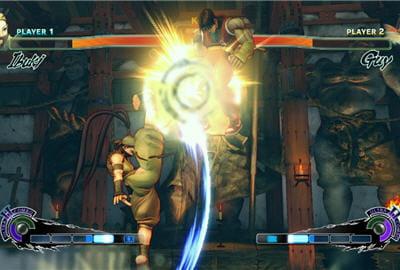 ibuki et guy s'affrontent dans un duel de ninjas.