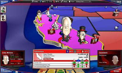 l'interface et le look cartoon de the political machine sont très agréables