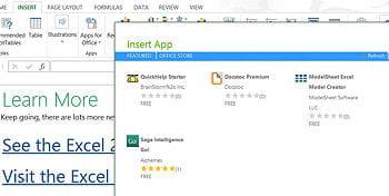 dans le menu 'insert', ici en haut à gauche dans excel 2013, il est possible