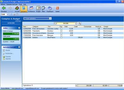 le logiciel comptes & budget free en cours d'utilisation.