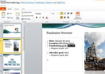 on ouvre directement une présentation powerpoint depuis hotmail en application