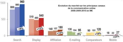 dépenses nettes des annonceurs nationaux par segment en 2010