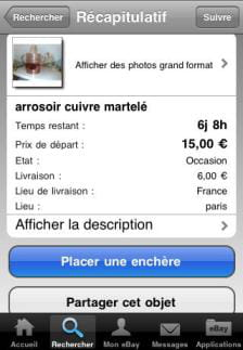 l'application iphone d'ebay