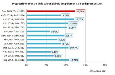 progression sur un an de la valeur globale des paiements cb en ligne mensuels