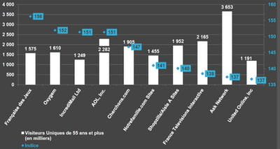 a quels sites profite le temps passé par les séniors en ligne ? en bleu,
