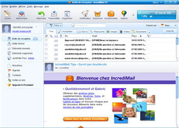capture d'écran du logiciel incredimail sous windows xp.