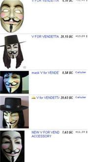 des masques de fawkes en vente par dizaine sur ebay