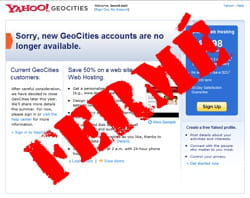 yahoo va fermer geocities, qu'il avait acheté pour 4 milliards de dollars