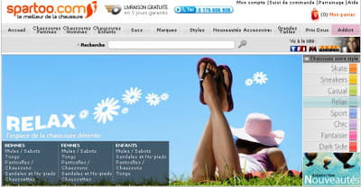 le haut de la page d'accueil de spartoo.fr