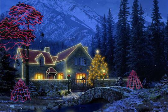 Petit cottage sous la neige