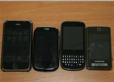 l'iphone, le pre, le pixi et un samsung 480.