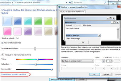 sur cette fenêtre, on choisit la couleur et transparence de ses fenêtre de