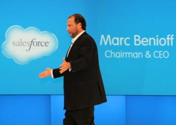 marc benioff, pdg de salesforce, lors d'une prise de parole à l'occasion de l'un