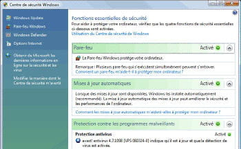 le centre de sécurité sous windows vista