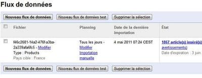 capture d'écran de la page flux de données de google merchant center