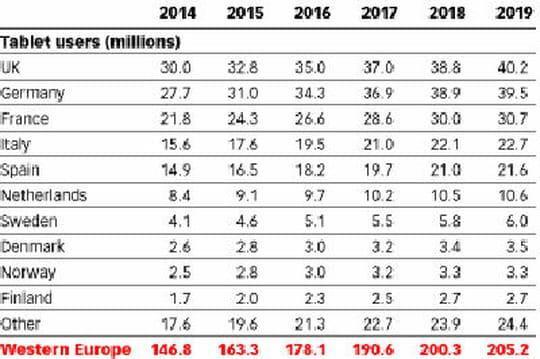 Près de deux tiers des internautes d'Europe de l'Ouest devraient utiliser une tablette d'ici 2019