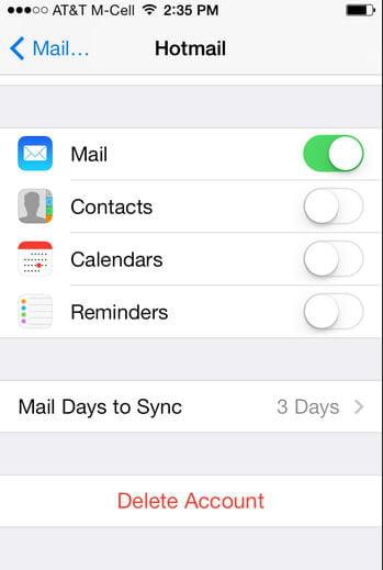 l'étape de la configuration de la boite mail.