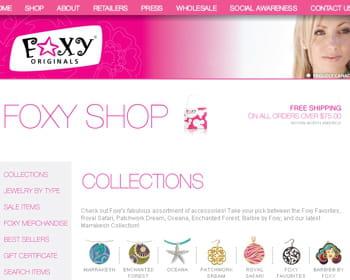 capture de l'écran d'accueil du site de foxy originals.