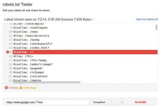 Google lance un nouvel outil pour tester les fichiers robots.txt