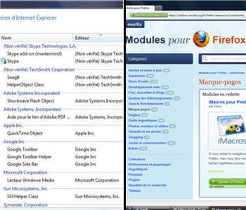 a gauche, la gestion des modules sous internet explorer 9, à droite celle de
