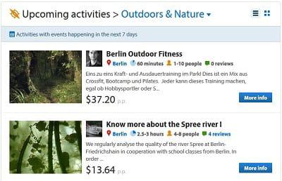 les prochaines activités 'outdoor' proposées sur berlin