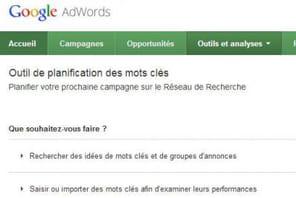 """Le Keyword Tool de Google remplacé par """"l'outil de planification des mots clés"""""""
