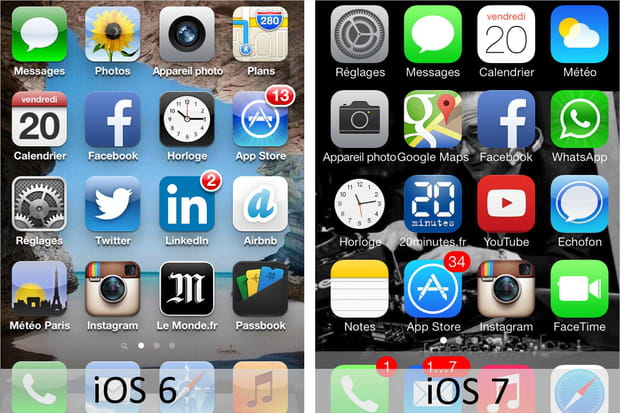 iOS 6 vs iOS 7 : ce qui change entre les deux interfaces