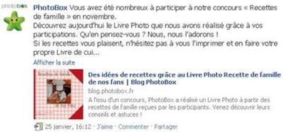 le concours 'recettes de famille' de photobox