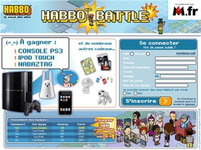 exemple de lots en rapport avec la cible : habbo offre des consoles de jeux et